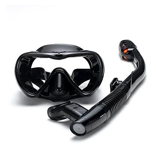 Máscara de Buceo Mascarilla Gafas de natación Snorkel Anti-Niebla Espejo Gafas Conjunto Silicona Natación Pesca Equipo de Snorkeling (Color : Black)