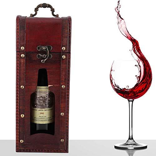 Denash Weinkiste aus Holz, Vintage Weinhalter Weinverpackung Geschenkbox mit Griff für die Hochzeit