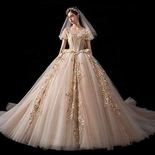 FTFTO Inicio Accesorios Elegante Vestido de Mujer de Simplicidad - Vestido de Baile de un Solo Hombro con Encaje de Moda Vestido de Novia (champán) pequeño