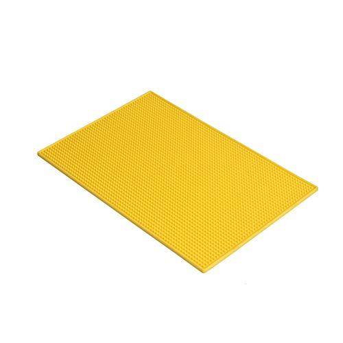 Drain-Pad Silikon PVC Square Drain-Pad bar bar Kunststoffunterlage Gummi-Untersetzer rutschfeste hitzebeständige Platzdeckchen Isolierunterlage (Farbe : Gelb)