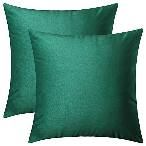 BlueCosto (2_Verde-A Terciopelo Fundas de Cojines Funda de cojín para sofá Almohada Dormitorio Coche Suave Decoración 45 x 45 cm