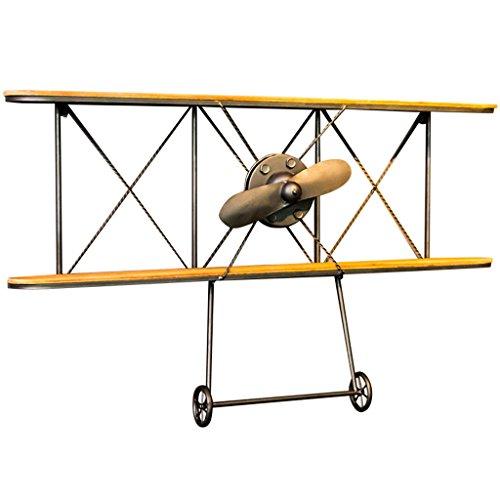 Yxsd Vintage Industriële Wind Smeedijzeren Vliegtuigen Wandplank, Geel Houten 2-tier Bar Decoratieve Opslag Plank (39