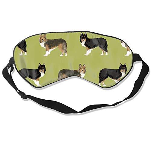 Sheltie Hond Tri Gekleurd Zwart en Tan Sheltie Shet Zijde Slaap Masker Comfortabele Blindfold Oogmasker Verstelbaar voor Mannen, Vrouwen of Kinderen