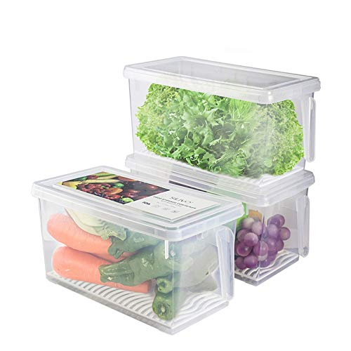 HapiLeap Kühlschrank Organizer Küche Frischhaltedose mit Deckel und Griff (3 Pack)