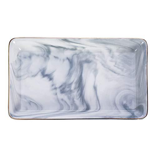 dgaf&bae Marmor Keramik Schmuckablage Ring Dish Mini-Waschtisch-Organizer Hochzeit Valentinstag Housewarminggeschenk(Grau groß)