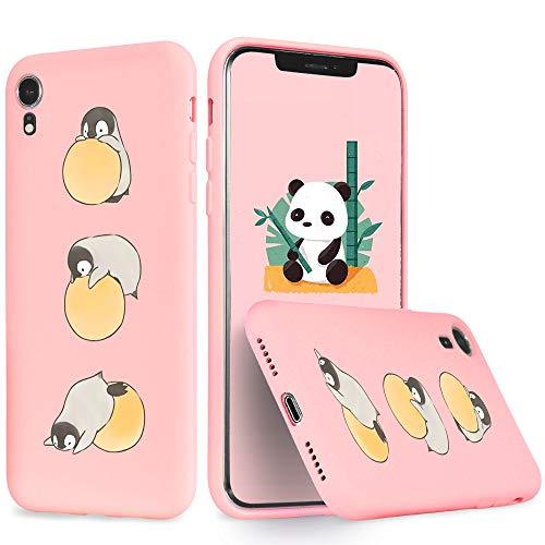 Idocolors Funda para iPhone 6/6S Plus Silicona Líquida Gel Yoga Penguin Carcasa Totalmente Protectora con Forro Interno Microfibra Cover Anti-Rasguño y Resistente Huellas Dactilares Case - Rosado Caso