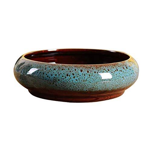 Bledyi Sukkulenten-Blumentopf, 18,5 cm, modernes Design, Keramik, rund, für Sukkulenten, Kaktus-Töpfe, dekorative Blumen-Halterung, Schale, Becken, keramik, blau, 18.5*5.8cm