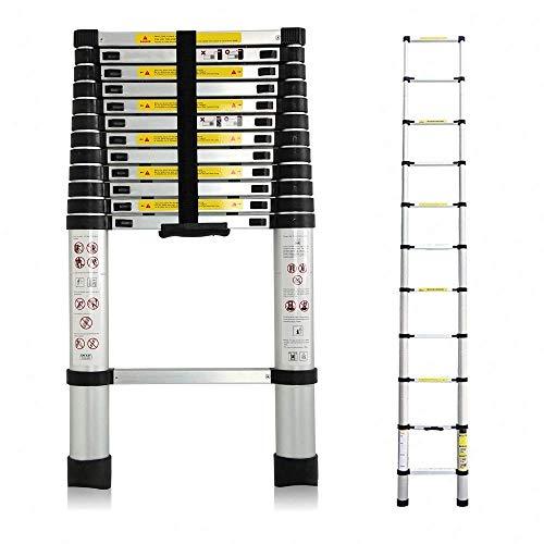 3,8M Teleskopleiter, Mehrzweckleiter Aluminium, 150 kg/330 Pfund Belastbarkeit, Ausziehbar Aluleiter, Ausziehleiter Mehrzweckleiter für Dachboden/Kletterdach/Büronutzung/Baujob