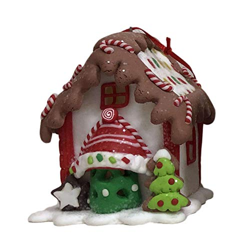 Kurt Adler Battery OPERTATED LED Gingerbread House Ornament with 38MM Warm White LED Lights - 4 Assorted - USES 3
