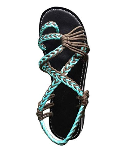 Damen Geflochtene Sandalen Sommer Gladiator Schuhe Casual Flachen Flip Flops Strand Zehentrenner Sandalen (EU 39, Türkis)
