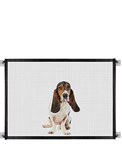 Queenii Magic Gate for Dogs Pet Safety Gate Portable Folding Mesh Magic Gate Baby Safety Gates Safe Guard Install Anywhere Safety Fence for Hall Doorway Wide Tall Black