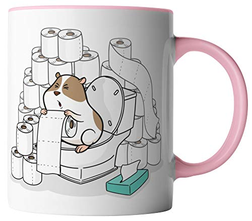 vanVerden tazza – carta igienica Re Criceto Coronavirus 2020 COVID-19 – Stampato su entrambi i lati – idea regalo tazze da caffè con scritta, Ceramica, bianco / rosa