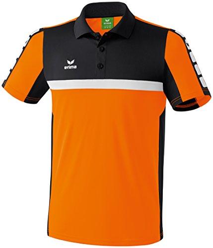 Erima Herren Classic 5-C Poloshirt, orange/schwarz/weiß, S