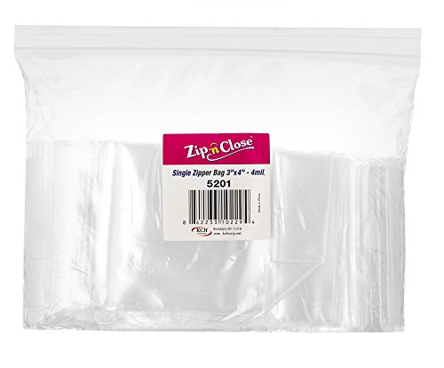 [100 Bags 3' x 4'] Zip'n'Close Disposable Plastic Resealable Reusable Bags, 4 Mill Thick, Great for Home, Office, Vacation, Traveling, Sandwich, Fruits, Nuts, Cookies, Or Any Storage Needs (1 Pack)