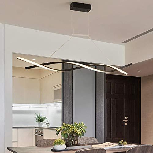 NQCT Lampada a Sospensione LED Dimmerabile, con Telecomando Luce Pendente Moderno Creativo Spirale Design Lampadario per Isola della Cucina Bar Sala da Pranzo Salotto Loft,Nero,L 120CM