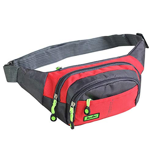 Canvas Unisex Fanny Pack Waist Hip Belt Bag Purse Pouch Pocket Travel Running Sport Bum Waterproof - Red