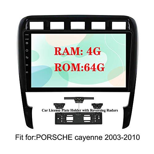 XISEDO 9' Android 9.0 Autoradio 8 Core In-dash Car Radio RAM 4G ROM 32G Car Stereo Navigazione GPS per Porsche Cayenne (2003-2010) (con Carta Targhetta Auto con Radar di Parcheggio)