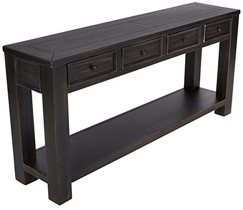 Signature Design by Ashley - Gavelston Console Table, Rubbed Black Finish