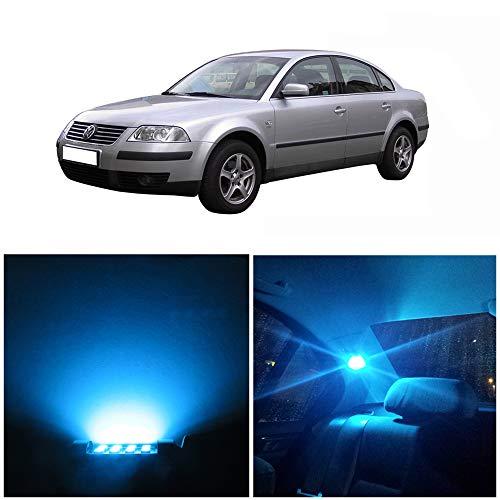 WLJH Lot De 13 Kit Ampoules IntéRieures Led Kit Super Glace Bleue Lumineuses Canbus Sans Erreur 2835 Puce Led Pour Passat B5 (1998-2005)