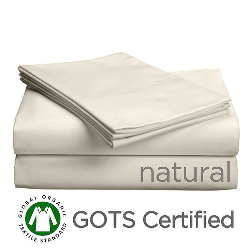 Gotcha Covered PURE Collection QUEEN Size American Leather Comfort Sleeper Organic Cotton Sateen Sheet Set - Sleeper Profile Up to 5 in. Natural
