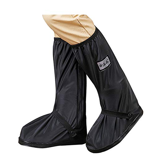QinWenYan wasserdichte Regen Stiefel Schuh-Abdeckung Dicke Rutschfester Sand Draußen Männer Und Frauen Stiefel Regen Anzug High-Top-Reitstiefel Geeignet Für Außen (Farbe : Schwarz, Größe : S)