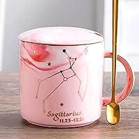 12星座マグカップコーヒーティーカップセラミックオートミールウォーターカップ400mlサジタリウス-ピンク