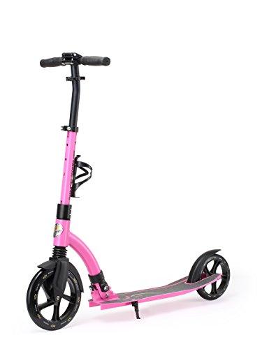STAR SCOOTER Aluminium Kickscooter Roller Kinderroller Tretroller für Jungen und Mädchen ab 8-9 Jahre Big 230mm Wheel Ultimate Scooter für Kinder und Erwachsene Pink Rosa