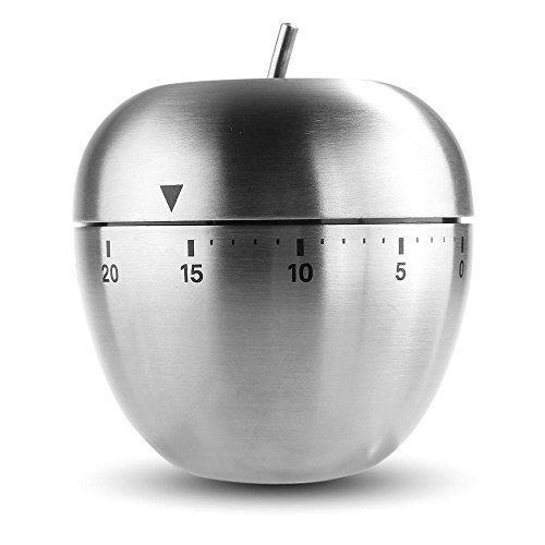 60 Minute Kitchen Cook Cooking Timer, Apple Shaped Stainless Steel Timer