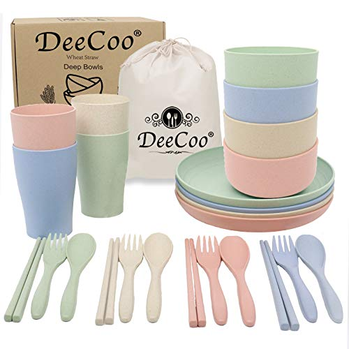 DeeCoo Wheat Straw Dinnerware Sets of 4 (24pcs), Unbreakable and Lightweight Serving Bowls, Cups, Plates, Chopsticks, Forks, Spoons Set, Microwave & Dishwasher Safe Dish Bowl for Kids or Picnics