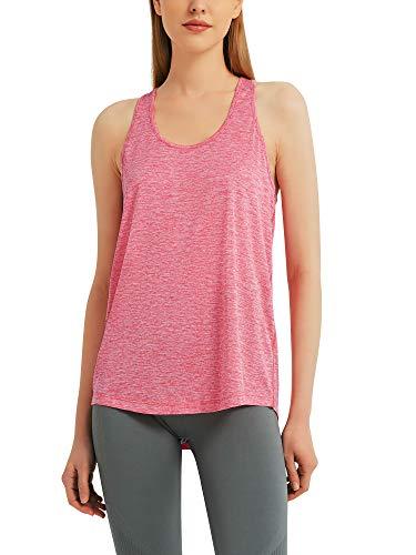 Woolicity Tank Top Donna Canotta Sportiva Running delle Donne Vest Yoga Wear Senza Maniche Rose Red S