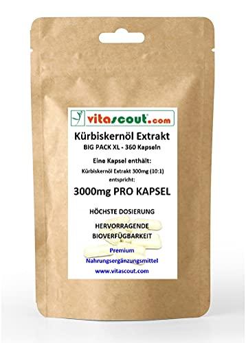 360 cápsulas de aceite de semillas de calabaza, extracto de semillas de...