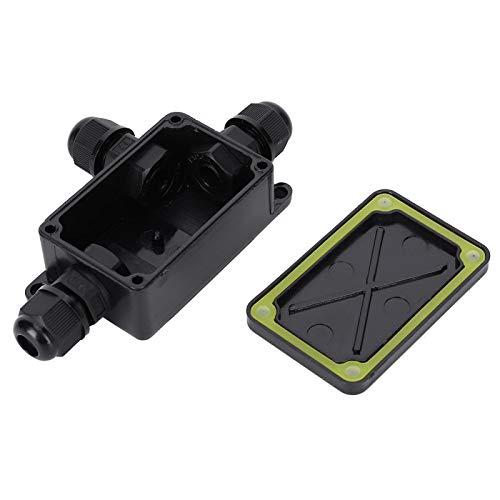 ASHATA Anschlussdose Außen wasserdicht IP66, Anschlussdose Schwarz PC Mini 1 in 2 Out 3-6,5 mm für Innen- und Außenelektrik, Kommunikation usw.