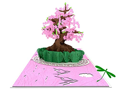 Dragonflies and Card Cherry Blossom Bonsai Happy Mother's Day - Kirigami 3D Pop Up Card - Mothers Day, Spring, Graduation, Birthday, Wedding, Anniversary, Thank You, Get Well, All Occasion