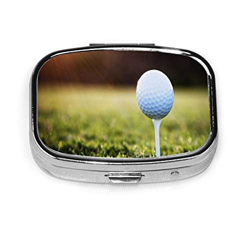 Pill Organizer Best Golf Balls Square Pill Box,Portable Pill Box Small Pill Container for Purse Or Pocket, Travel Sized Pill Box Case with Divider (Square-2 Section)