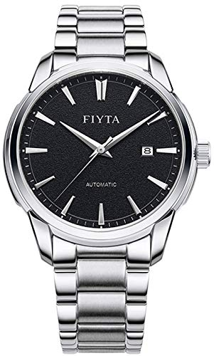 FIYTA Classic GA802072.WBW - Orologio automatico da uomo, con cinturino in metallo argentato e data, colore: Nero