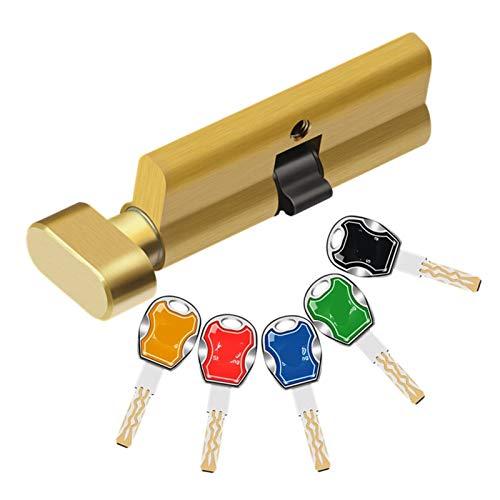 SONGYG Bombin Cerradura Cilindro de la Puerta del Dormitorio 70 mm de Seguridad Cerradura de Cobre Cilindro Interior Dormitorio Manija de Vida Latón 5pcs Clave (Color : 70MM)