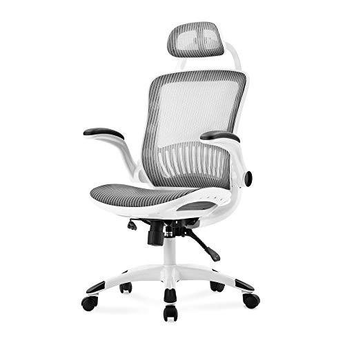 JKHK Silla de Oficina ergonómica con Respaldo Alto, Malla ejecutiva, Altura Ajustable, giratoria para Juegos, reposacabezas, sillón, sillas de Escritorio, Asiento