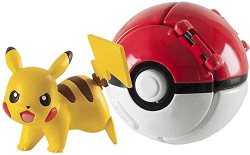 DUDEL Pokemon Lets Go Pikachu con Juego de Pelota Figura de acción Figura de Juguete para niños (Pikachu)