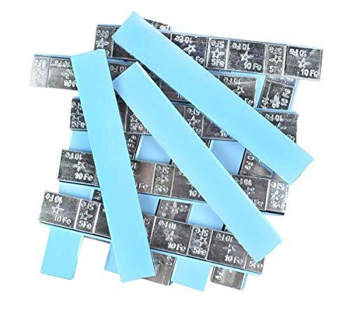 DWT-GERMANY 100627 100 unidades por unidad de 5 g/10 g de contrapesos de 6 kg adhesivos de acero, barra de acero galvanizado, barra FE, borde rectangular
