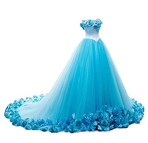 THE LONDON STORE Women's Sky-Blue Organza Flower Ball Gown