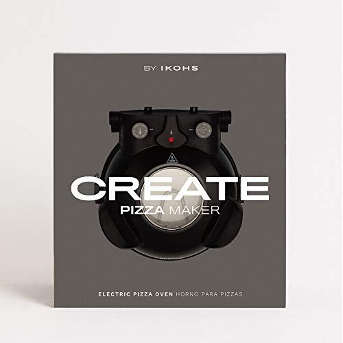 CREATE IKOHS PIZZA MAKER - Forno elettrico per pizze, Base speciale in pietra per cottura della pizza, 31 CM, 1200 W, 350 °, Livelli di potenza 5, Con timer, Spegnimento automatico (Nero)
