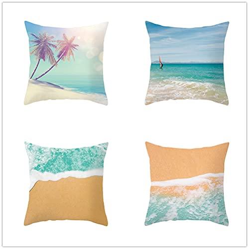 Niuqichongtian Funda de almohada de verano de playa de 4 piezas conjunto sofá de coche cojín lumbar decoraciones del hogar TPR031-2