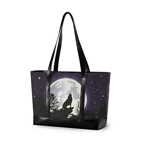 XiangHeFu Bolso Bolso de mano para computadora Moda Casual Gran capacidad Hombro Noche estrellada Luna llena Lobo Árbol forestal
