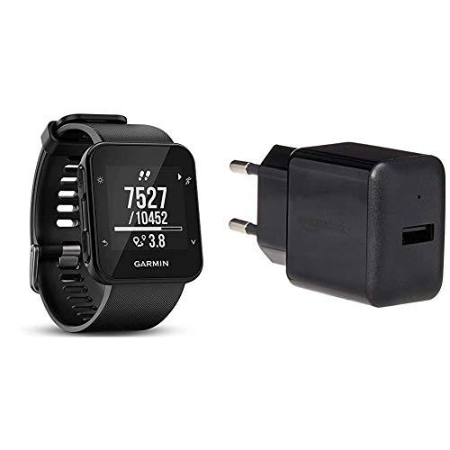 Garmin Forerunner 35 GPS Running Watch con Sensore Cardio al Polso & AmazonBasics Caricabatterie da parete con una porta USB (2,4 A) Nero