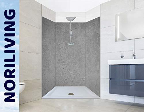 NORILIVING Muster Duschrückwand Fliesenersatz Dusche 20x29 cm Motiv Betonoptik | Duschwand ohne Bohren 1 teilig kostenloser Zuschnitt auf Wunschformat | Aluverbundplatte 3mm