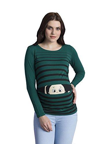 Peek a Boo - Lustiges witziges süßes Langarm-Umstandsshirt mit Guck-Guck Motiv für die Schwangerschaft/Umstandsmode/Schwangerschaftsshirt, Langarm (Small, Dunkelgrün)