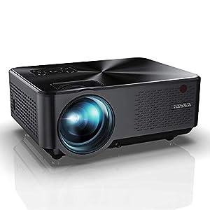 Proyector YABER Mini Portátil Proyector Cine en Casa 5500 Lúmenes Resolución Nativa 1280*720p, Vídeo Proyector con HiFi Altavoces Incorporados, Cubierta de Metal, Soporte HDMI/USB/VGA/AV (Negro)