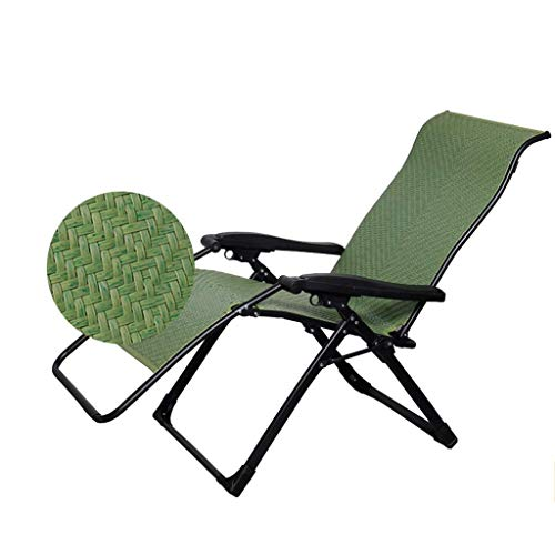 Silla de escritorio de oficina, silla de mimbre, plegable, tumbona de gravedad cero, balcón, jardín, exterior, ajustable, portátil, 160 kg (color verde bambú)