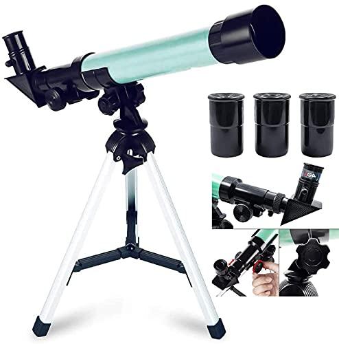 FHISD Telescopios Infantiles para astronomía Niños Principiantes Elescopio Juguete de plástico Telescopios monoculares portátiles con 3 aumentos Oculares Soporte de Suelo