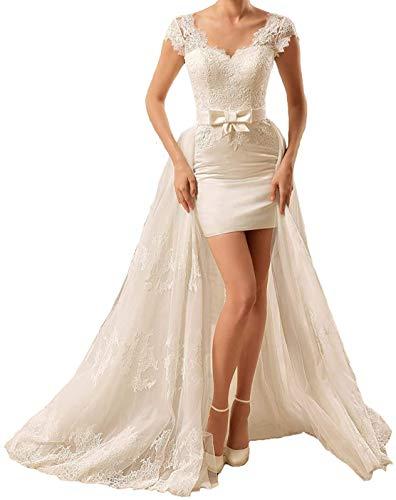 HUINI Damen Brautkleider Lang V-Ausschnitt Kurzarm Elegant Spitze Brautkleider Hochzeitskleider mit Abnehmbare Schleppe Elfenbein 54